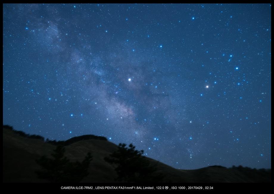 奈良の曽爾高原で天の川な星景を赤道儀ポラリエで14.jpg