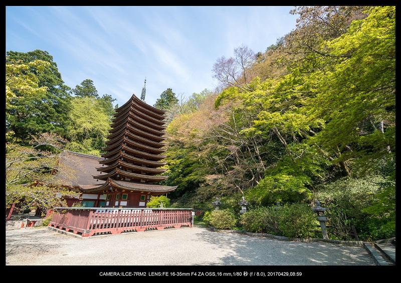新緑の談山神社十三重の塔3.jpg