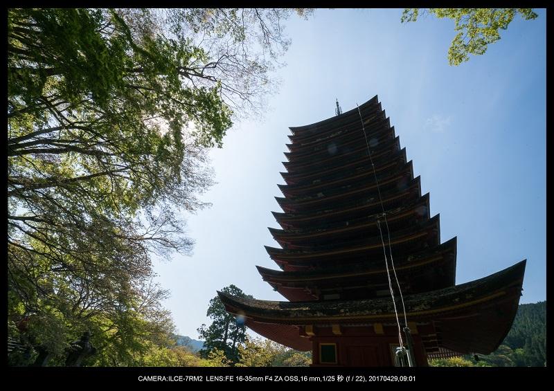 新緑の談山神社十三重の塔4.jpg