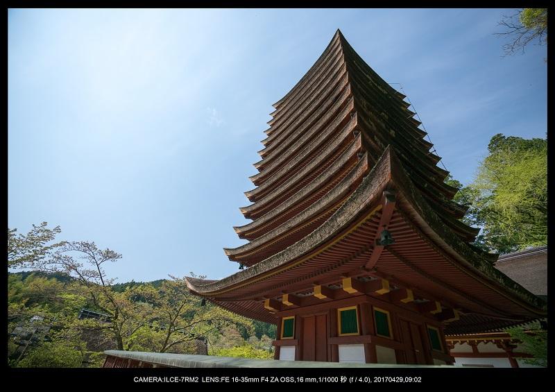 新緑の談山神社十三重の塔5.jpg